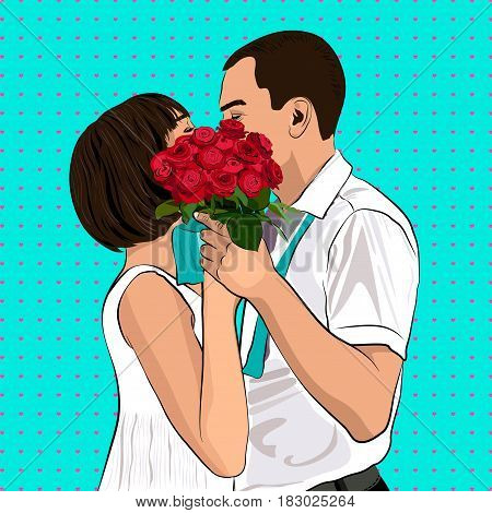 Bride and groom kiss. In Love Couple. Wedding card with the newlyweds. Pop Art Vector Illustration.