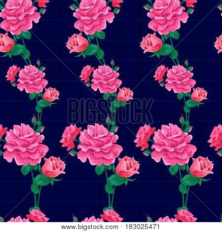 Magnificent bouquet.Seamless pattern with pink roses on a dark striped background.Summer Vector illustration in the retro style.Print for book cover, textile, fabric, wrapping paper, scrapbooking.