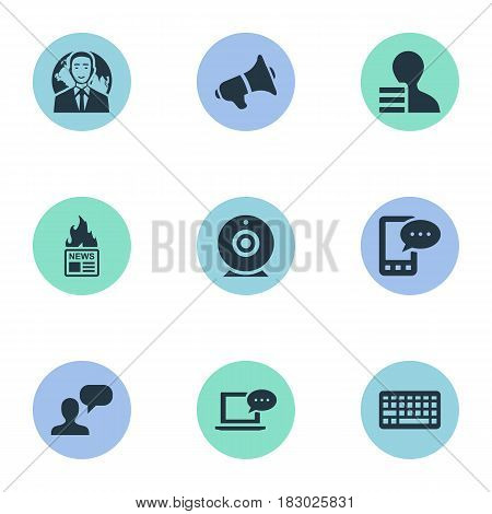 Vector Illustration Set Of Simple Newspaper Icons. Elements Gain, Broadcast, International Businessman And Other Synonyms International, Phone And Keypad.