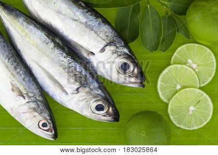 fish with lemon and leafs on banana leaves backgroundconcept cooking background