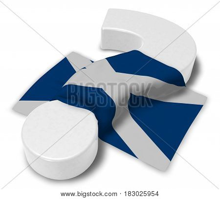 question mark and flag of scotland - 3d illustration