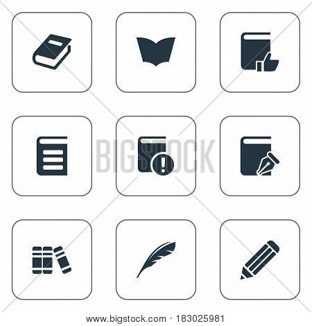 Vector Illustration Set Of Simple Education Icons. Elements Pen, Sketchbook, Notebook And Other Synonyms Recommended, Reading And Textbook.