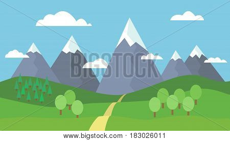 Panoramic cartoon mountain landscape with blue sky white clouds trees snow on the peaks hills and through the mountains - vector illustration flat design