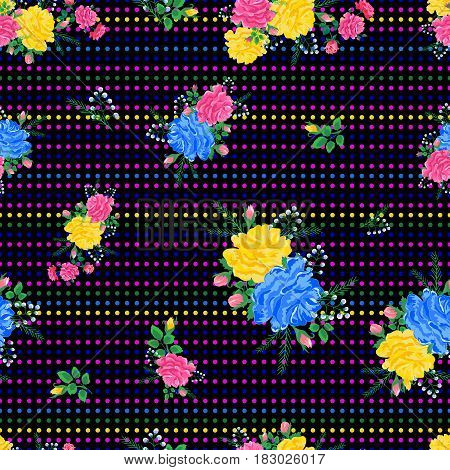 Beautiful colorful seamless pattern with pink, yellow, blue roses on a dark background. Vector illustration.Print for book covers, textile, fabric, wrapping gift paper