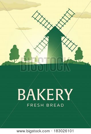 Poster Rural Landscape With Windmill. Sunrise. Bakery. Fresh Bread. Vector Illustration.