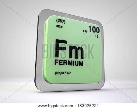 fermium - Fm - chemical element periodic table 3d illustration