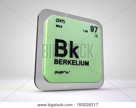 berkelium - Bk - chemical element periodic table 3d illustration