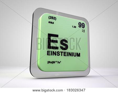 einsteinium - Es - chemical element periodic table 3d illustration