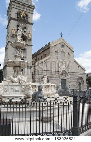 view of the Cathedral of Messina with the watch tower