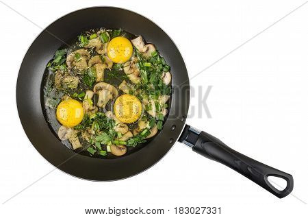Mushrooms With Greens, Spices And Raw Eggs In Frying Pan