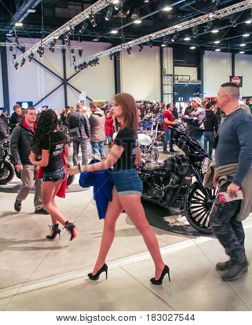 St. Petersburg Russia - 15 April, People on moto salon,15 April, 2017. International Motor Show IMIS-2017 in Expoforurum. Visitors and participants of the annual moto-salon in St. Petersburg.