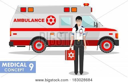 Detailed illustration of jewish medical people and ambulance car in flat style on white background.