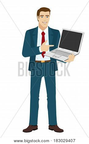 Businessman pointing at laptop notebook. Full length portrait of businessman character in a flat style. Vector illustration.