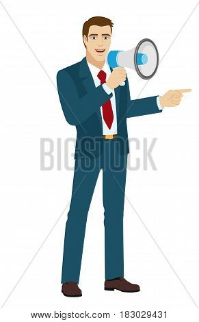 Businessman with loudspeaker pointing something beside of him. Full length portrait of businessman character in a flat style. Vector illustration.
