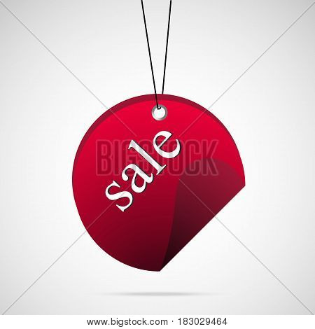 Red circle sale badge with string vector