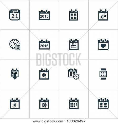 Vector Illustration Set Of Simple Plan Icons. Elements Date, Almanac, Deadline And Other Synonyms Summer, Birthday And Gear. poster