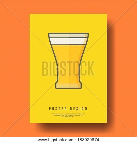 Abstract Glass of Beer Cover Design - Vector illustration template
