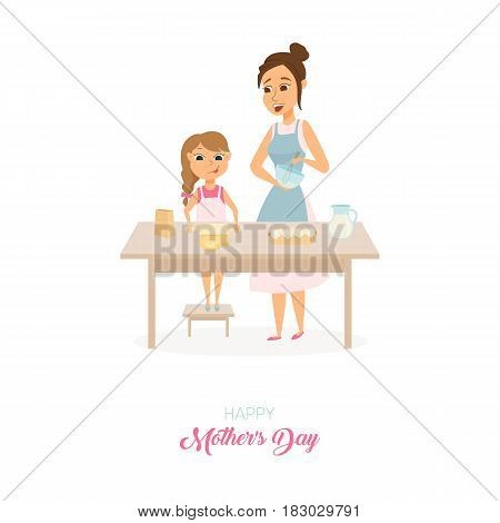 Moders day card. Mom and daughter cooking on kitchen and baking together. Woman is beating cream and girl rolls the dough. Happy family. Poster or baner with cartoon characters isolated on white