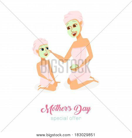 Moders day special offer card. Mom and daughter in spa make face mask in bathroom. Happy family. Smiling cute women and girl. Poster or baner with cartoon characters isolated on white