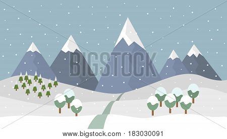Cartoon snowy winter mountain landscape with snow and coniferous and deciduous trees and road to the mountains with snow covered peaks under the gray sky - vector illustration flat design