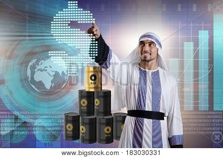 Arab businessman in oil price business concept