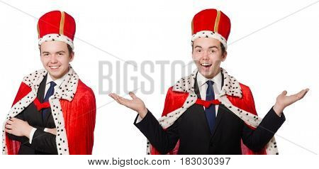 Businessman with crown isolated on white