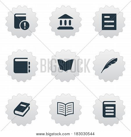 Vector Illustration Set Of Simple Education Icons. Elements Book Page, Encyclopedia, Library And Other Synonyms Journal, List And Feather.