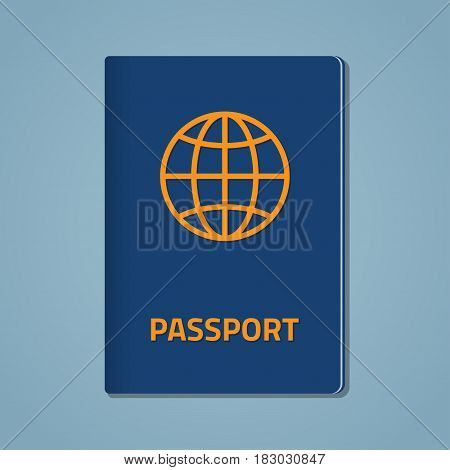 Blue cover of the passport for travel and visiting other countries with a globe icon of golden color. Isolated on a blue background. Flat style illustration.