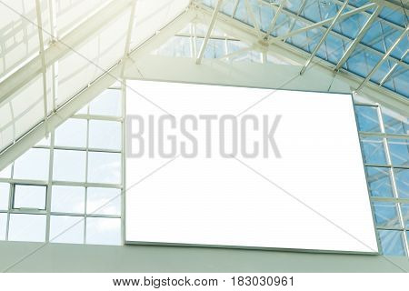 Large blank signboard in the top of shopping mall