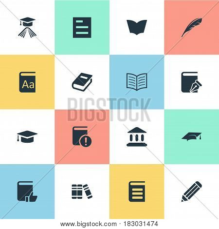 Vector Illustration Set Of Simple Knowledge Icons. Elements Alphabet, Book Page, Reading And Other Synonyms School, Bookshelf And List.