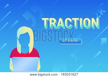 Usability traction concept illustration of young woman using laptop for working, learning and enternet surfing. Gradient vector design of people addicted to network community with social media symbols