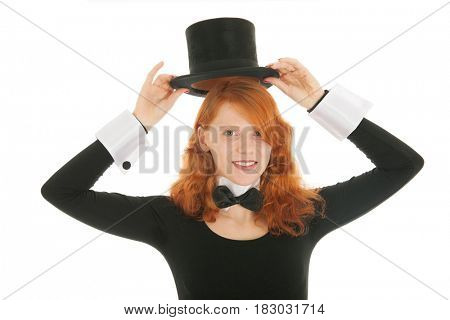 Woman as dandy taking  black silk hat off isolated over white background