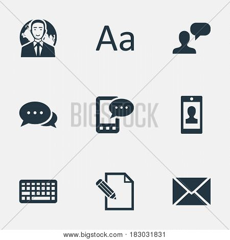Vector Illustration Set Of Simple Blogging Icons. Elements Cedilla, Man Considering, Argument And Other Synonyms Keyboard, Cedilla And Debate.