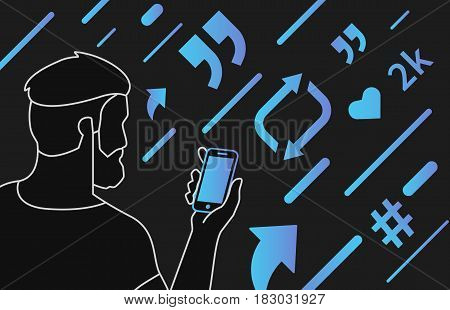 Addicted people concept illustration of young man using smartphone and mobile app for social networks and tracking news. Gradient outlined people addicted to symbols repost, share, like and hashtag