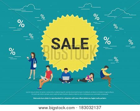 Sale circle symbol concept illustration of people using mobile gadgets such as digital tablet, laptop and smartphone for online ordering and purchasing goods. Flat guys and women near yellow symbol