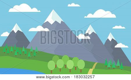 Mountain cartoon landscape with green hills and gray mountains with peaks under snow with lake or river under a blue day sky with clouds with trees and background in fog - vector flat