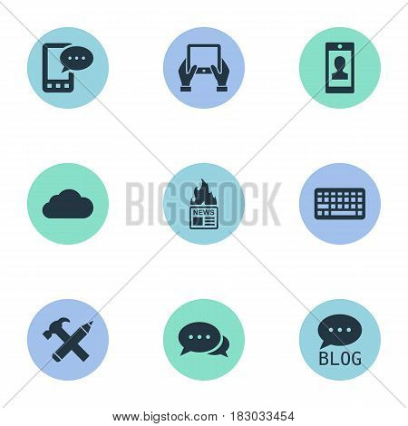 Vector Illustration Set Of Simple User Icons. Elements E-Letter, Site, Keypad And Other Synonyms Hand, Smartphone And News.