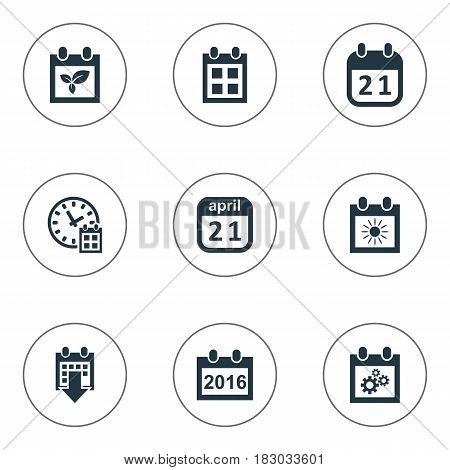 Vector Illustration Set Of Simple Plan Icons. Elements History, Remembrance, Summer Calendar And Other Synonyms Plant, Almanac And Event.