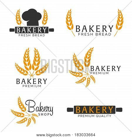 Set Of Bakery Shop Emblem, Labels, Logo And Design Elements. Bread And Wheat. Vector Illustration.