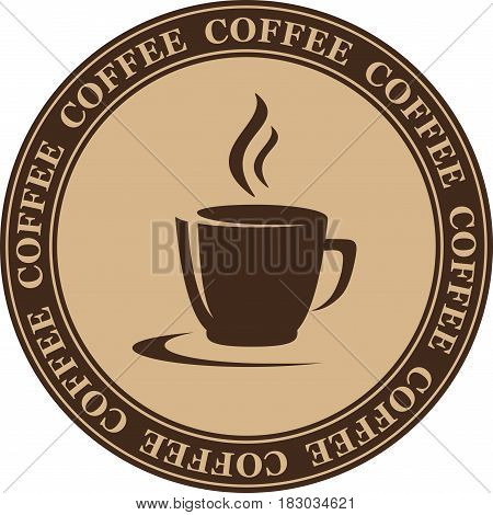 Coffee Cup In Round Frame