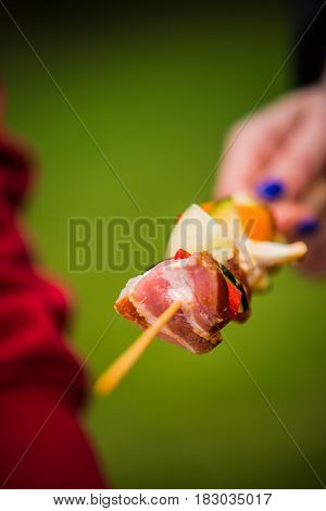 Barbeque sticks with meat and fresh vegetables.