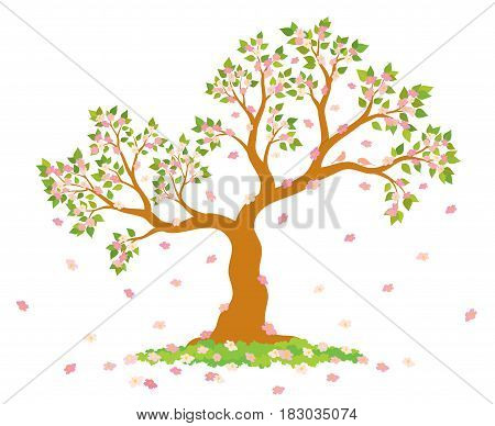 Vector illustration of lush, blossom tree with green leaves, pink flowers and couple of lovely birds on white background.