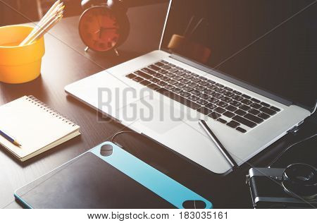 Photographer Graphic designer equipment on working table