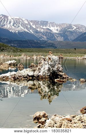 View of Tufa Formation in Mono Lake in California