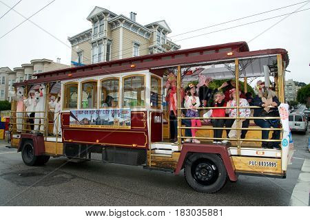 San Francisco, CA - April 16, 2016: Unknown participants in the 26th Annual Union Street Easter Parade. The Biggest Little Parade in San Francisco and reflects the unique community of the Bay Area.