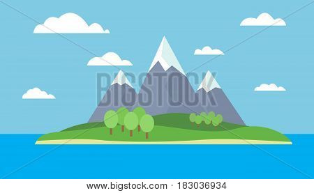 Mountain cartoon view of an island in the sea with green hills trees and gray mountains with peaks under snow under a blue day sky with clouds with a straight horizon - vector