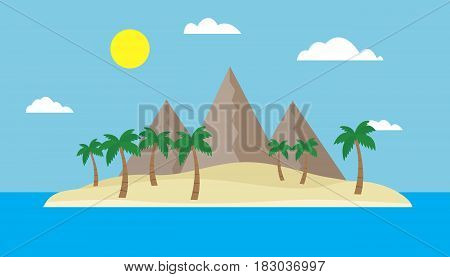 Cartoon view of a tropical island in the middle of an ocean or sea with a sandy beach palm trees and mountains under a blue sky with clouds and sun on a bright summer day - vector flat