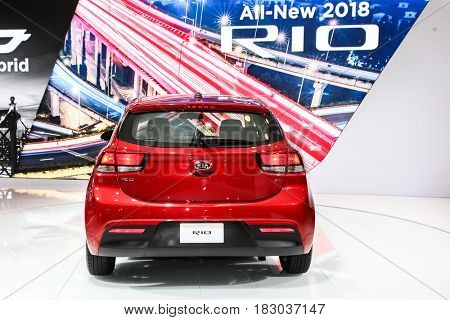 NEW YORK- APRIL 12: 2018 Kia Rio shown at the New York International Auto Show 2017, at the Jacob Javits Center. This was Press Preview Day One of NYIAS, on April 12, 2017 in New York City