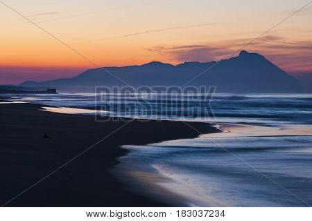 Landscape of the Tyrrhenian Sea and Monte Circeo in Italy