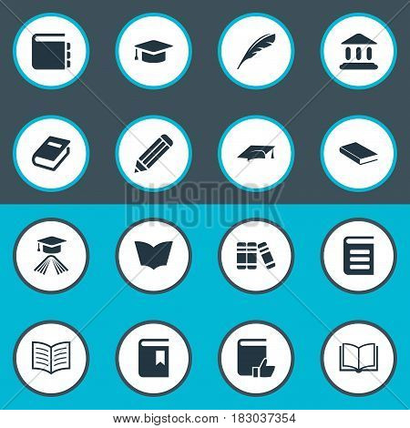 Vector Illustration Set Of Simple Education Icons. Elements Plume, Graduation Hat, Book Cover And Other Synonyms Blank, Academy And Textbook.